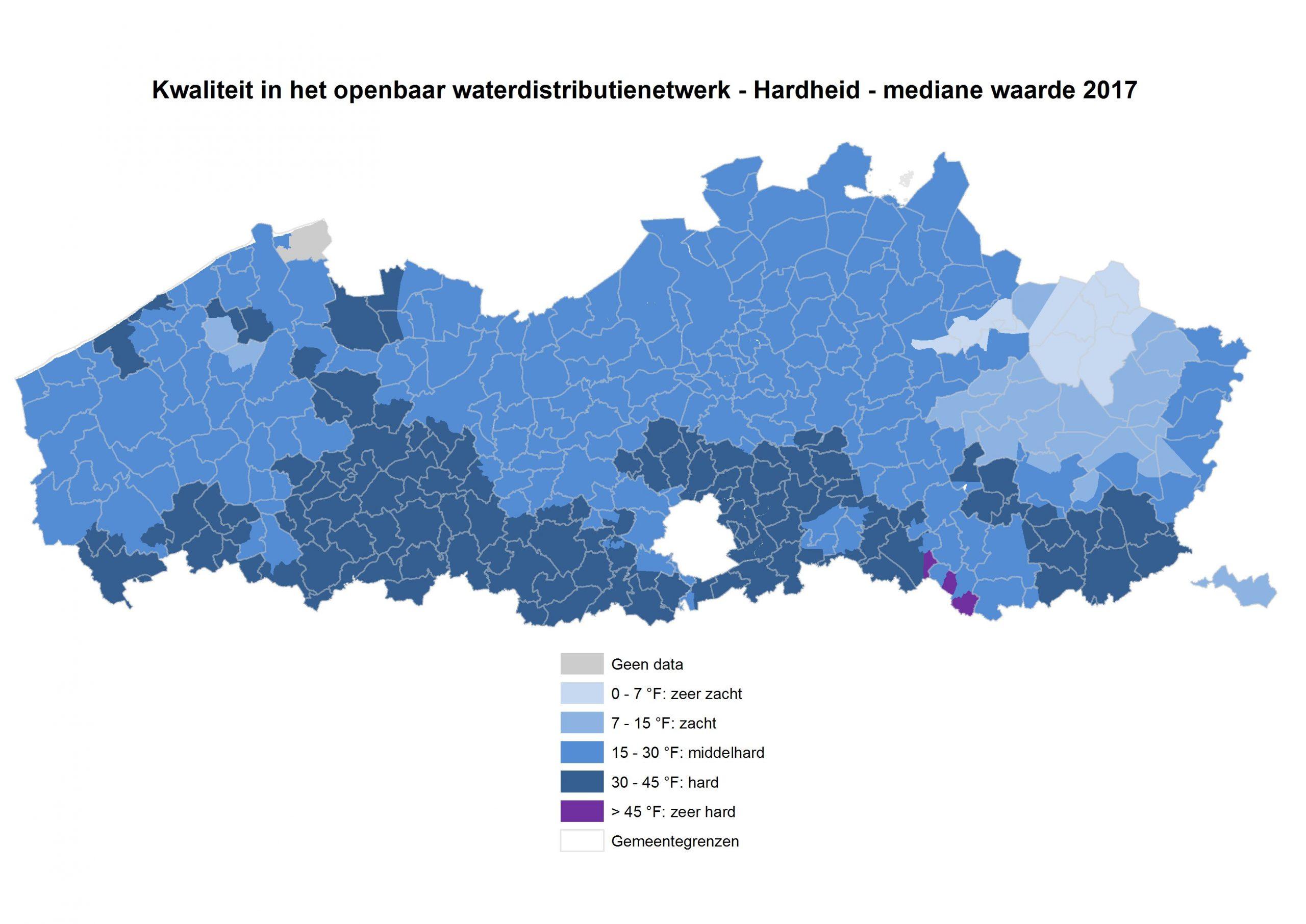 kaartweergave waterhardheid Vlaanderen